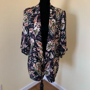 Zara Tropical Floral Satin Blazer